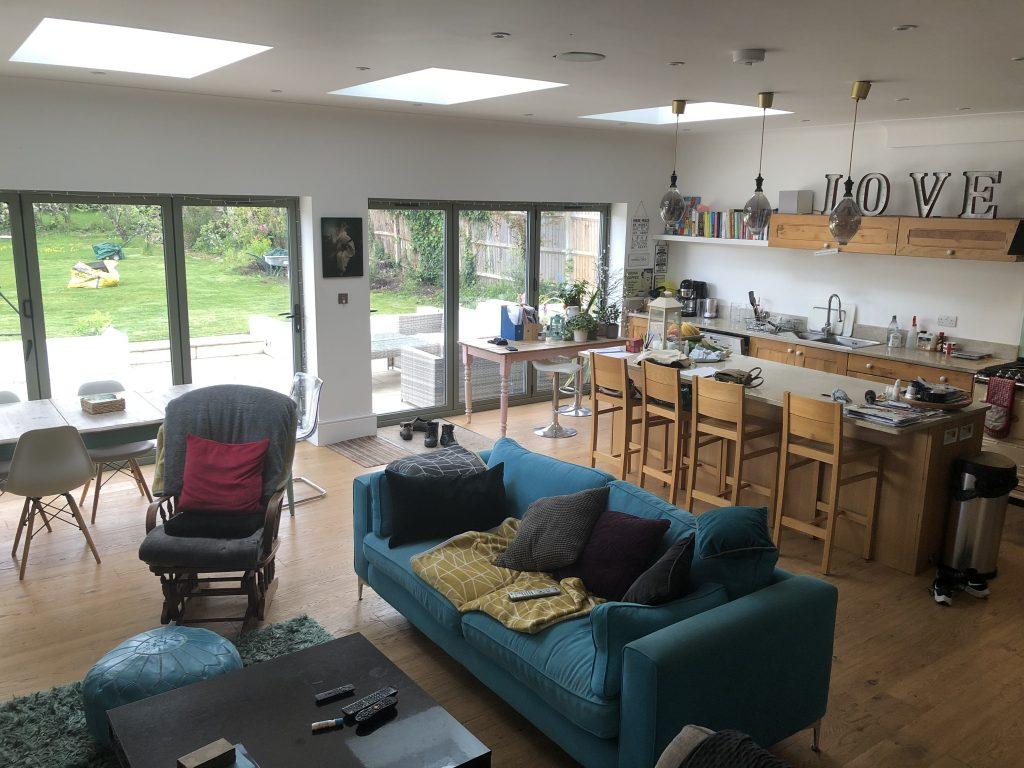 Interior of open plan kitchen croydon